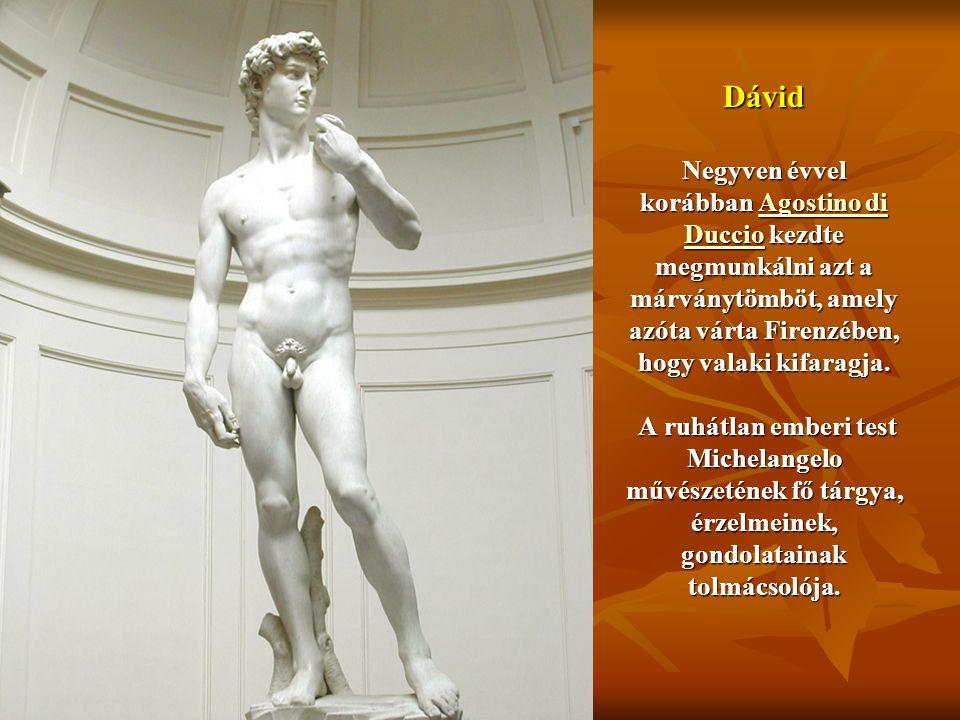Dávid Negyven évvel korábban Agostino di Duccio kezdte megmunkálni azt a márványtömböt, amely azóta várta Firenzében, hogy valaki kifaragja. A ruhátla