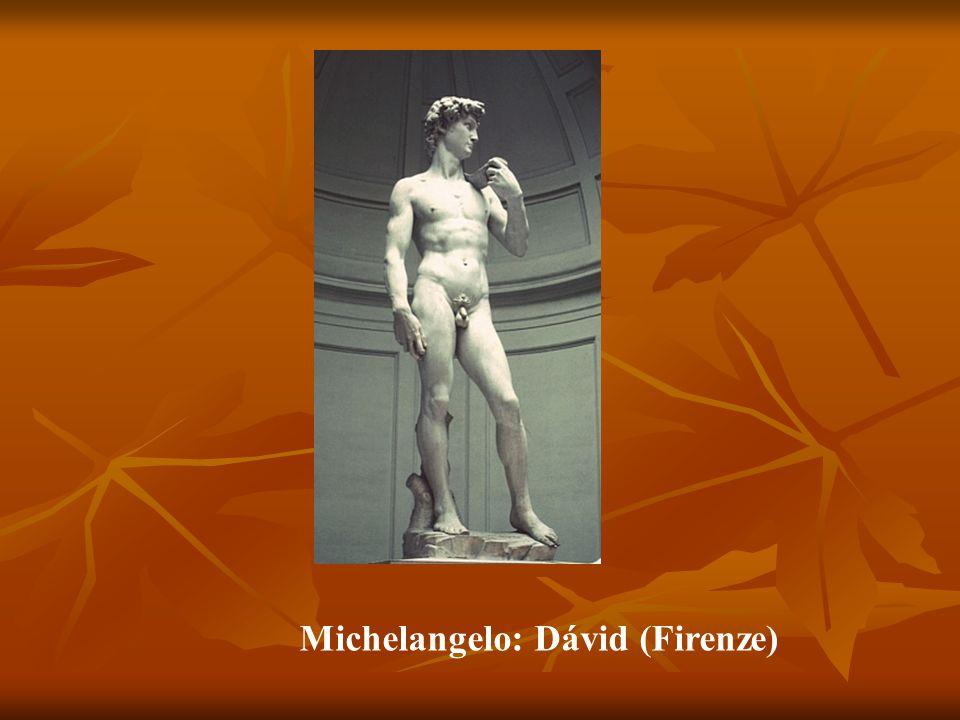 Jeles alkotók - remekművek Lorenzo Ghiberti (1378–1455) - a firenzei Battistero /Keresztelőkápolna/ két kapuja Lorenzo Ghiberti (1378–1455) - a firenzei Battistero /Keresztelőkápolna/ két kapuja Donatello (1386–1466) - Dávid (Firenze), Gattamelata lovas szobra (Padova) Donatello (1386–1466) - Dávid (Firenze), Gattamelata lovas szobra (Padova) Jacopo della Quercia (1374–1438) - San Petronio- templom kapudombormű (Bologna) Jacopo della Quercia (1374–1438) - San Petronio- templom kapudombormű (Bologna) Andrea del Verocchio (1436–1488) - Dávid (Firenze), Colleoni lovas szobra (Velence) Andrea del Verocchio (1436–1488) - Dávid (Firenze), Colleoni lovas szobra (Velence) Michelangelo Buonarroti (1475–1564) - Pieta (Róma), Dávid (Firenze), Mózes (Róma), Mediciek síremléke (Firenze) Michelangelo Buonarroti (1475–1564) - Pieta (Róma), Dávid (Firenze), Mózes (Róma), Mediciek síremléke (Firenze)