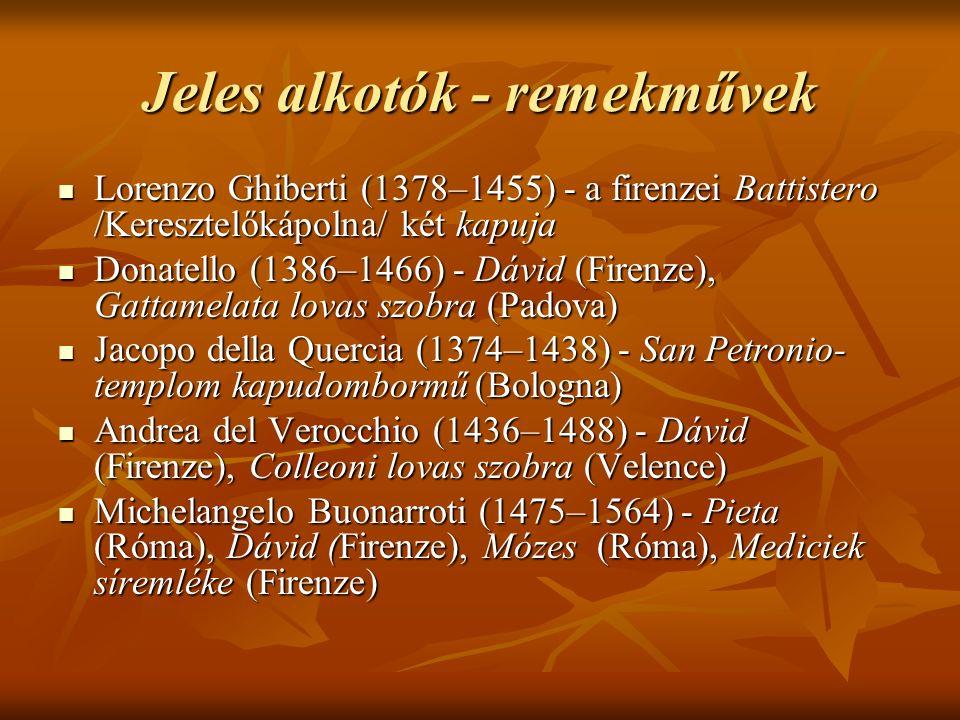 Jeles alkotók - remekművek Lorenzo Ghiberti (1378–1455) - a firenzei Battistero /Keresztelőkápolna/ két kapuja Lorenzo Ghiberti (1378–1455) - a firenz