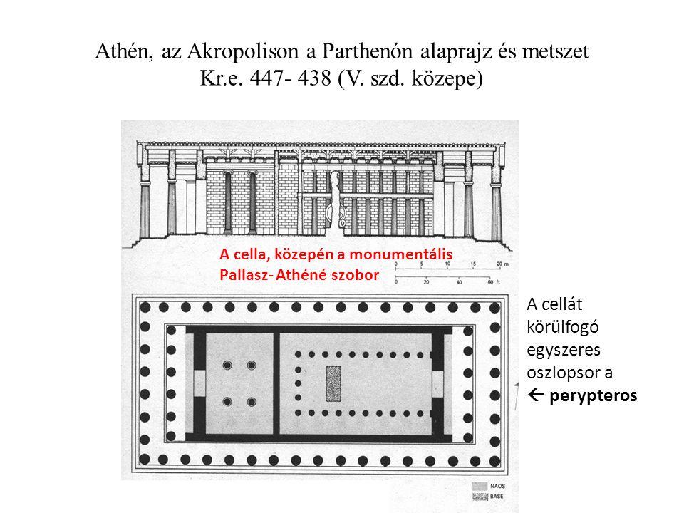 Athén, az Akropolison a Parthenón alaprajz és metszet Kr.e.