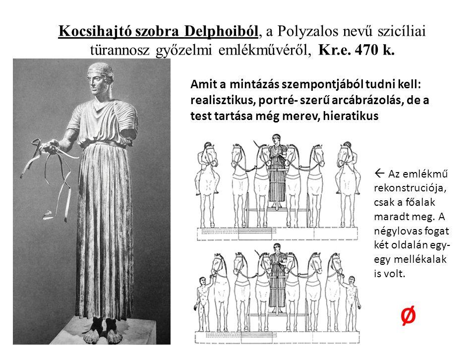 Kocsihajtó szobra Delphoiból, a Polyzalos nevű szicíliai türannosz győzelmi emlékművéről, Kr.e.