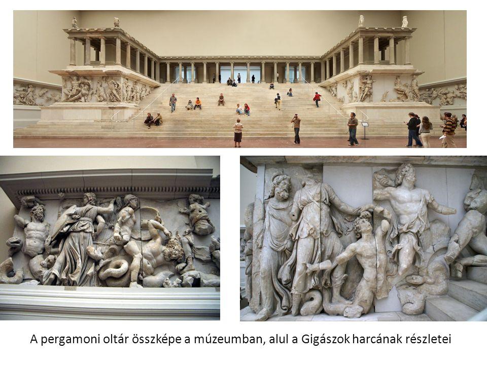 A pergamoni oltár összképe a múzeumban, alul a Gigászok harcának részletei