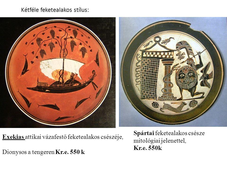 Exekias attikai vázafestő feketealakos csészéje, Dionysos a tengeren Kr.e.