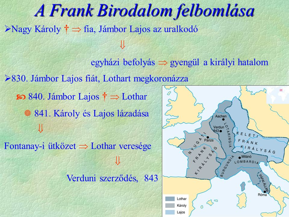  Nagy Károly †  fia, Jámbor Lajos az uralkodó  egyházi befolyás  gyengül a királyi hatalom  830.