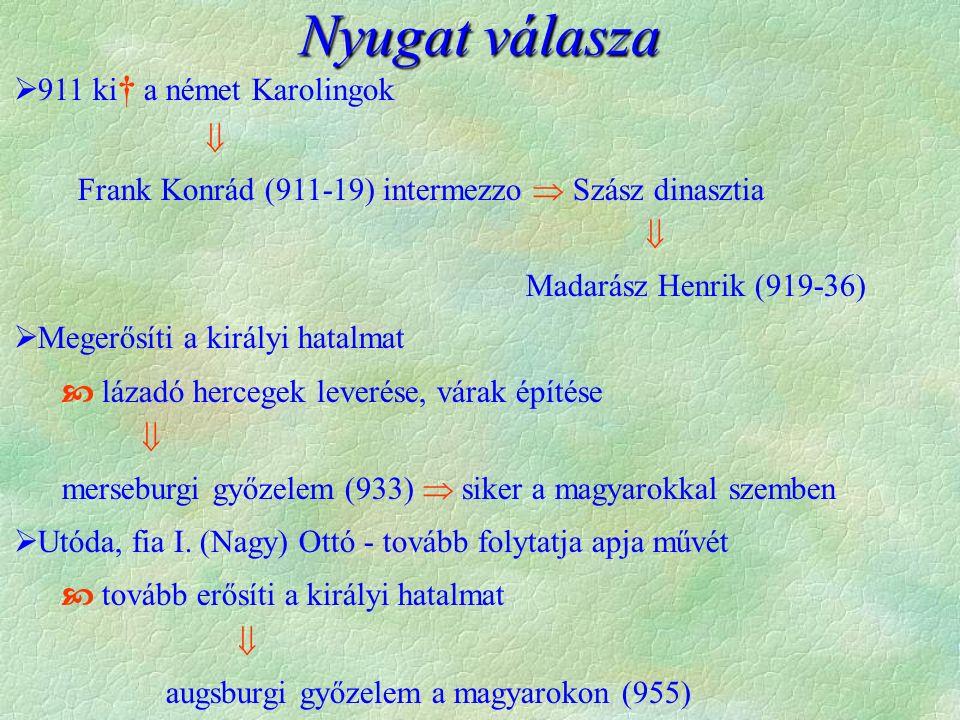  911 ki † a német Karolingok  Frank Konrád (911-19) intermezzo  Szász dinasztia  Madarász Henrik (919-36)  Megerősíti a királyi hatalmat  lázadó hercegek leverése, várak építése  merseburgi győzelem (933)  siker a magyarokkal szemben  Utóda, fia I.