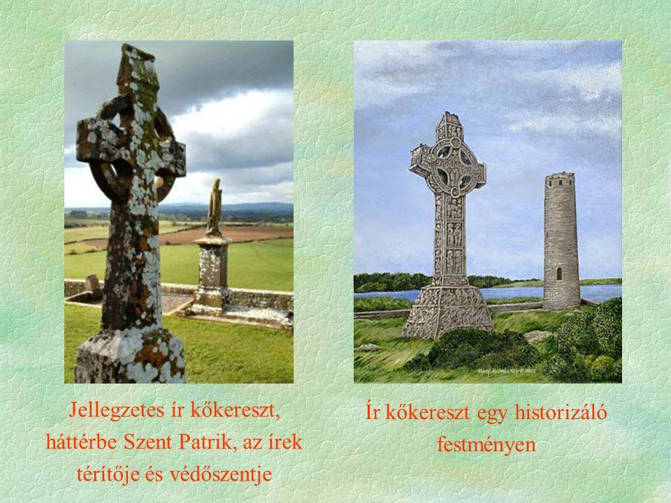 Jellegzetes ír kőkereszt, háttérbe Szent Patrik, az írek térítője és védőszentje Ír kőkereszt egy historizáló festményen