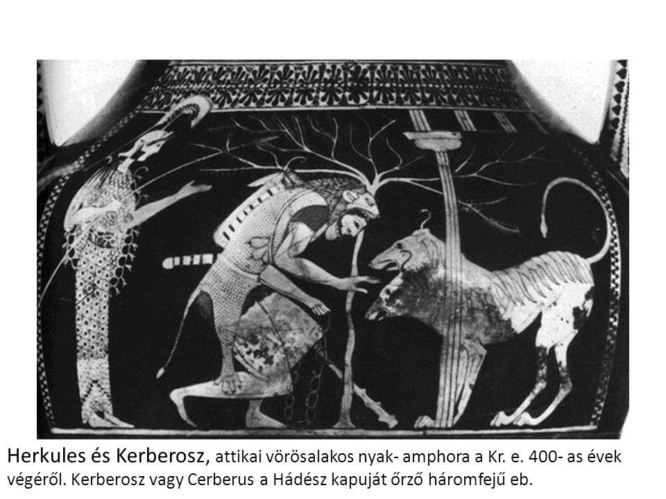 Herkules és Kerberosz, attikai vörösalakos nyak- amphora a Kr.