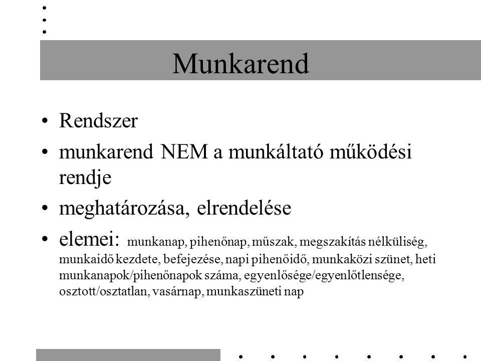 Munkarend Rendszer munkarend NEM a munkáltató működési rendje meghatározása, elrendelése elemei: munkanap, pihenőnap, műszak, megszakítás nélküliség,