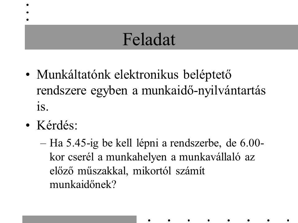 Feladat Munkáltatónk elektronikus beléptető rendszere egyben a munkaidő-nyilvántartás is. Kérdés: –Ha 5.45-ig be kell lépni a rendszerbe, de 6.00- kor