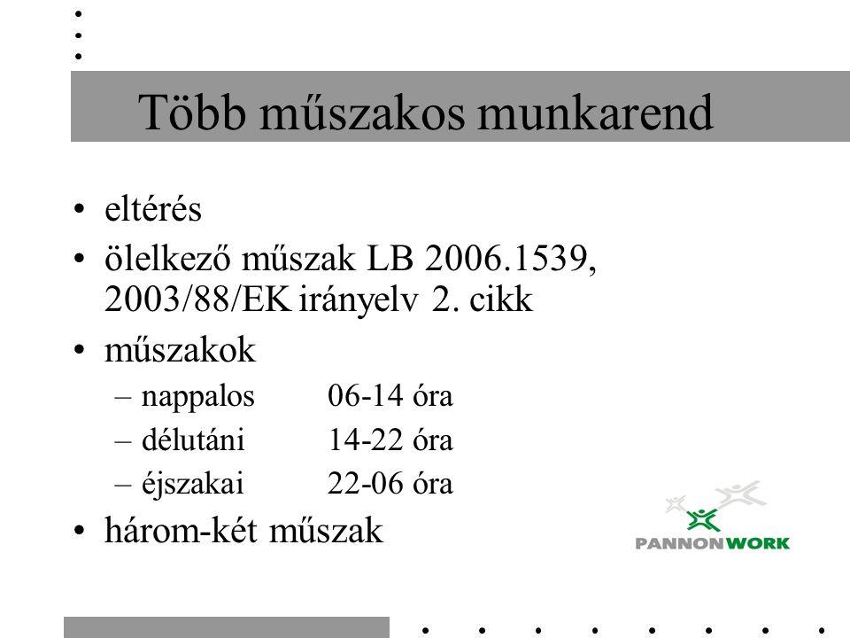 Több műszakos munkarend eltérés ölelkező műszak LB 2006.1539, 2003/88/EK irányelv 2.