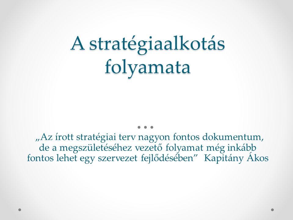 """A stratégiaalkotás folyamata """"Az írott stratégiai terv nagyon fontos dokumentum, de a megszületéséhez vezető folyamat még inkább fontos lehet egy szervezet fejlődésében Kapitány Ákos"""