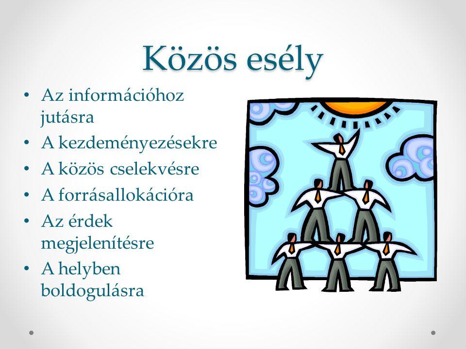 Közös esély Az információhoz jutásra A kezdeményezésekre A közös cselekvésre A forrásallokációra Az érdek megjelenítésre A helyben boldogulásra
