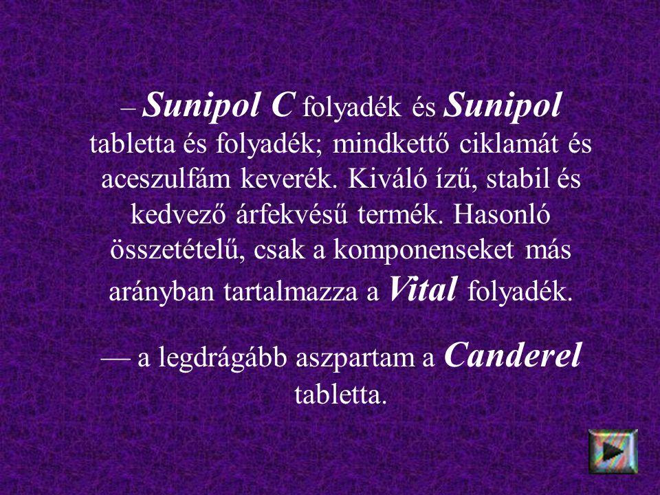 – Sunipol C folyadék és Sunipol tabletta és folyadék; mindkettő ciklamát és aceszulfám keverék. Kiváló ízű, stabil és kedvező árfekvésű termék. Hasonl