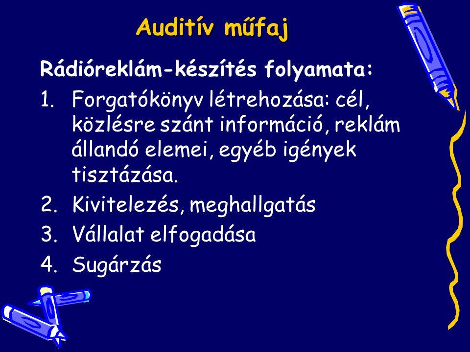 Auditív műfaj Rádióreklám-készítés folyamata: 1.Forgatókönyv létrehozása: cél, közlésre szánt információ, reklám állandó elemei, egyéb igények tisztázása.