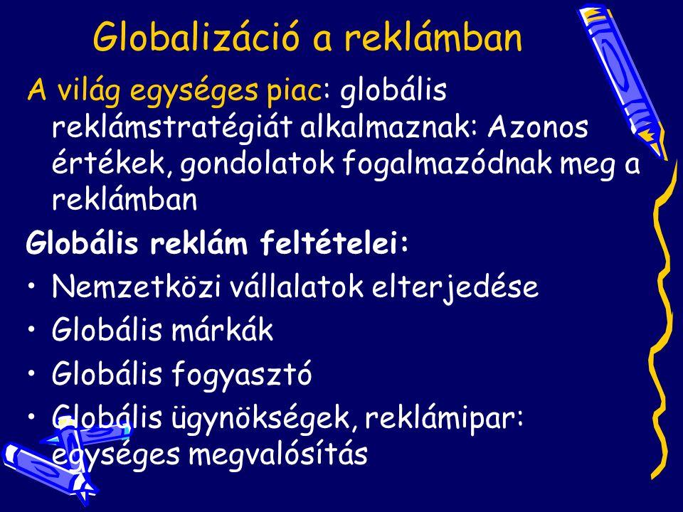 Globalizáció a reklámban A világ egységes piac: globális reklámstratégiát alkalmaznak: Azonos értékek, gondolatok fogalmazódnak meg a reklámban Globális reklám feltételei: Nemzetközi vállalatok elterjedése Globális márkák Globális fogyasztó Globális ügynökségek, reklámipar: egységes megvalósítás