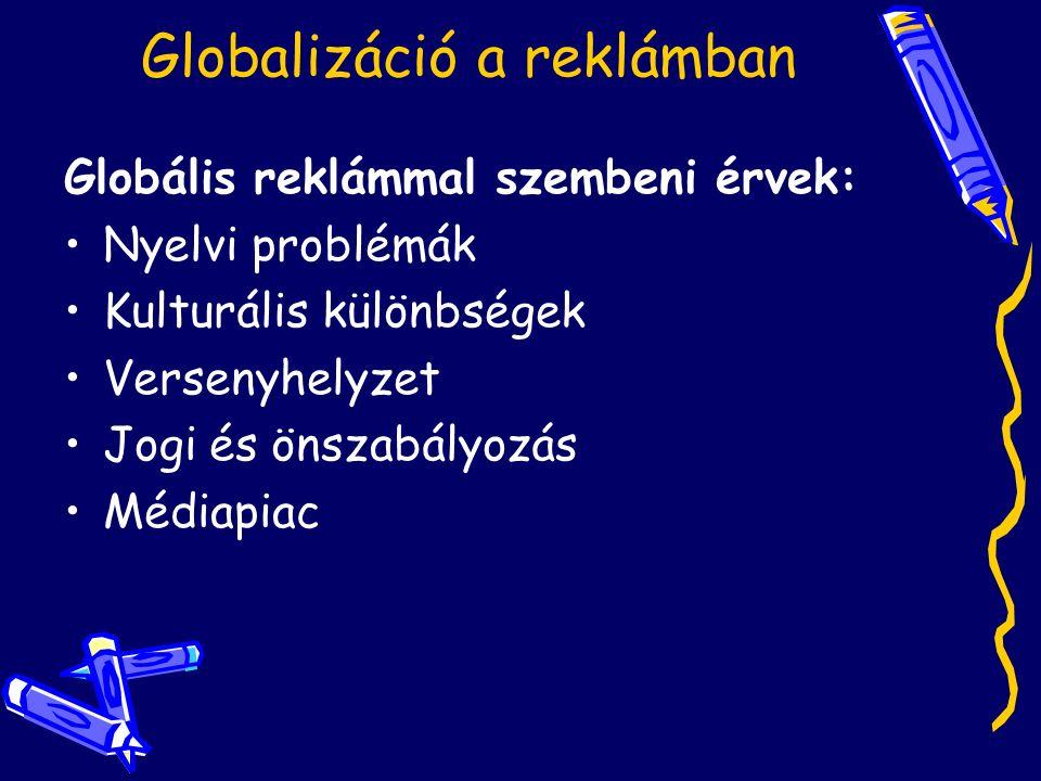 Globalizáció a reklámban Globális reklámmal szembeni érvek: Nyelvi problémák Kulturális különbségek Versenyhelyzet Jogi és önszabályozás Médiapiac