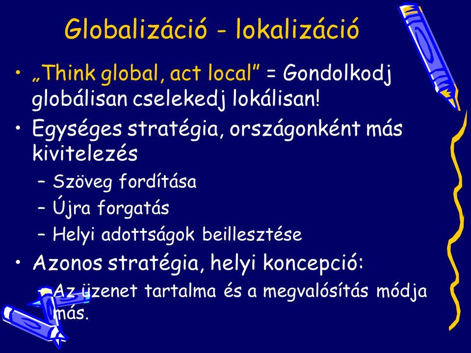 """Globalizáció - lokalizáció """"Think global, act local = Gondolkodj globálisan cselekedj lokálisan."""