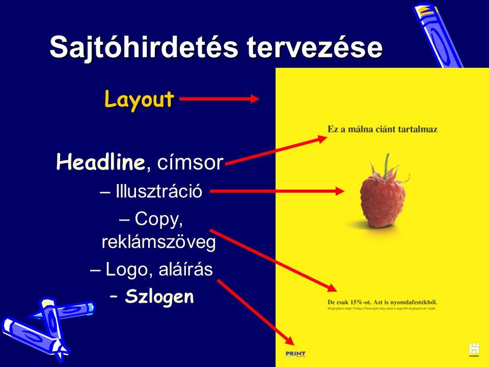 Sajtóhirdetés tervezése Layout Headline, címsor –Illusztráció –Copy, reklámszöveg –Logo, aláírás –Szlogen