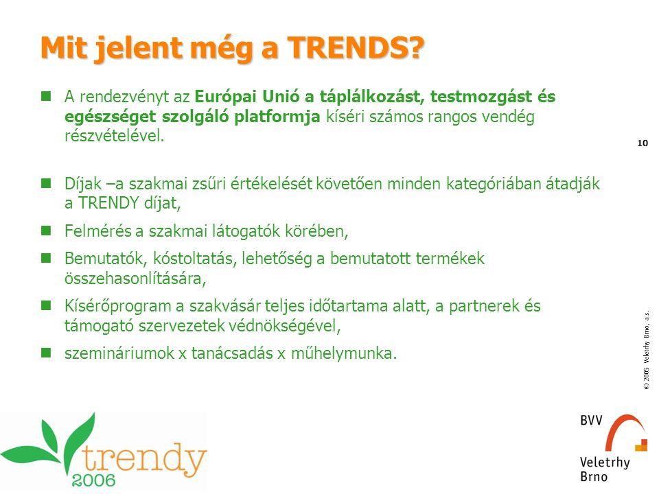 © 2005 Veletrhy Brno, a.s. 10 Mit jelent még a TRENDS? A rendezvényt az Európai Unió a táplálkozást, testmozgást és egészséget szolgáló platformja kís