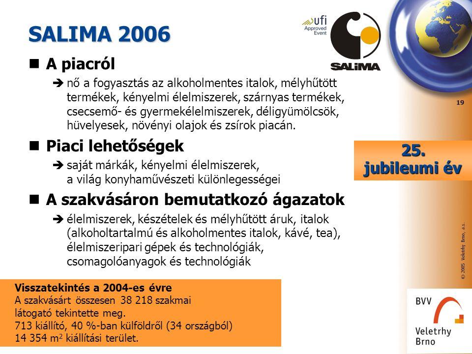 © 2005 Veletrhy Brno, a.s. 19 SALIMA 2006 A piacról  nő a fogyasztás az alkoholmentes italok, mélyhűtött termékek, kényelmi élelmiszerek, szárnyas te