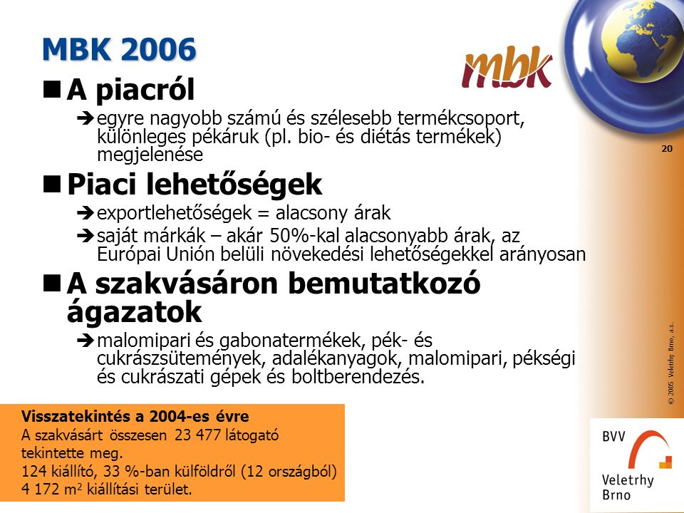 © 2005 Veletrhy Brno, a.s. 20 MBK 2006 A piacról  egyre nagyobb számú és szélesebb termékcsoport, különleges pékáruk (pl. bio- és diétás termékek) me
