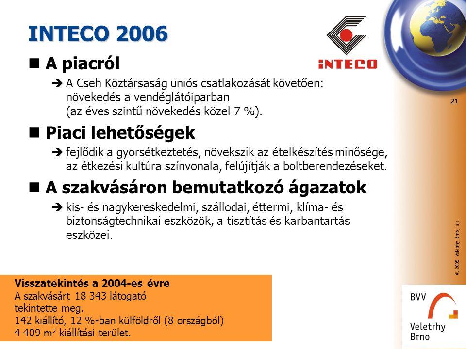 © 2005 Veletrhy Brno, a.s. 21 INTECO 2006 A piacról  A Cseh Köztársaság uniós csatlakozását követően: növekedés a vendéglátóiparban (az éves szintű n