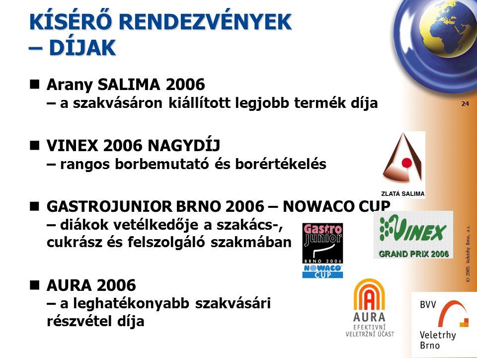 © 2005 Veletrhy Brno, a.s. 24 Arany SALIMA 2006 – a szakvásáron kiállított legjobb termék díja VINEX 2006 NAGYDÍJ – rangos borbemutató és borértékelés