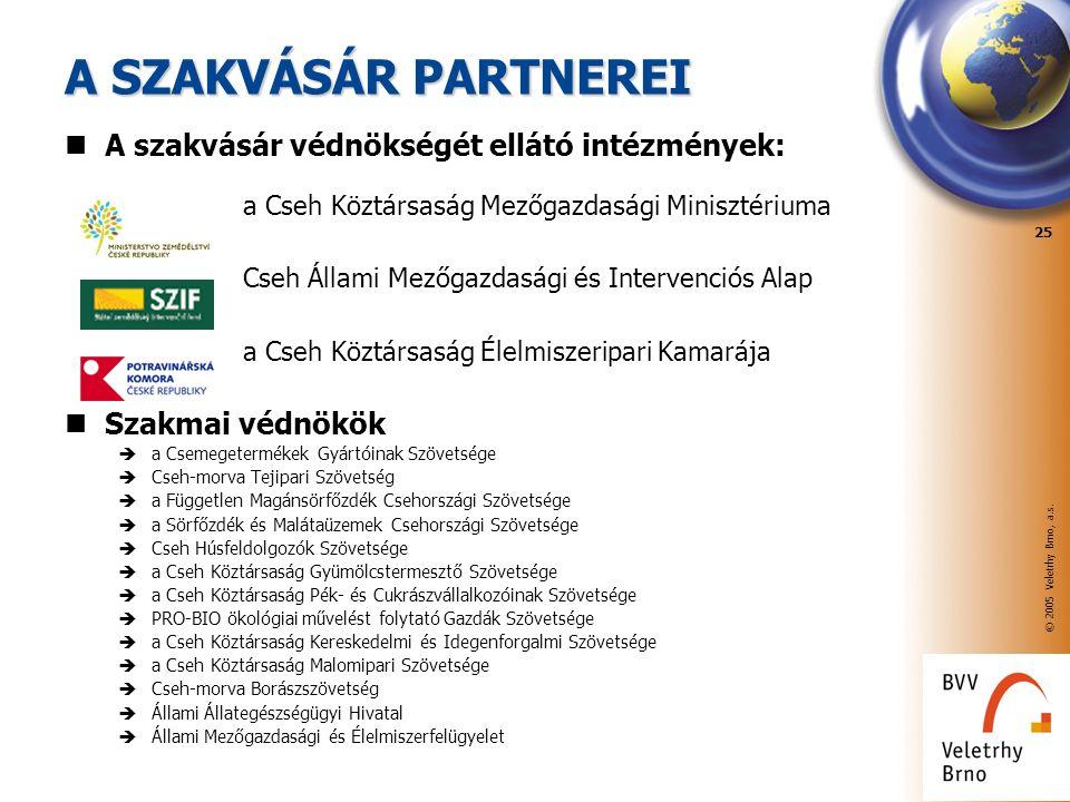 © 2005 Veletrhy Brno, a.s. 25 A SZAKVÁSÁR PARTNEREI A szakvásár védnökségét ellátó intézmények: a Cseh Köztársaság Mezőgazdasági Minisztériuma Cseh Ál