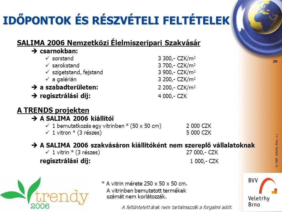 © 2005 Veletrhy Brno, a.s. 29 IDŐPONTOK ÉS RÉSZVÉTELI FELTÉTELEK SALIMA 2006 Nemzetközi Élelmiszeripari Szakvásár  csarnokban: sorstand3 300,- CZK/m