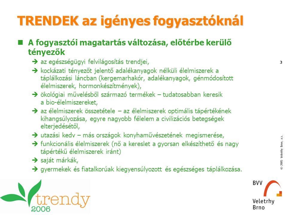 © 2005 Veletrhy Brno, a.s. 3 TRENDEK az igényes fogyasztóknál A fogyasztói magatartás változása, előtérbe kerülő tényezők  az egészségügyi felvilágos
