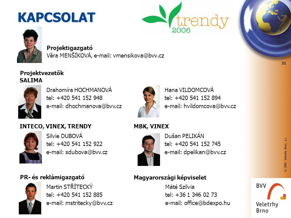 © 2005 Veletrhy Brno, a.s. 31 KAPCSOLAT Projektigazgató Věra MENŠÍKOVÁ, e-mail: vmensikova@bvv.cz Drahomíra HOCHMANOVÁ tel: +420 541 152 948 e-mail: d