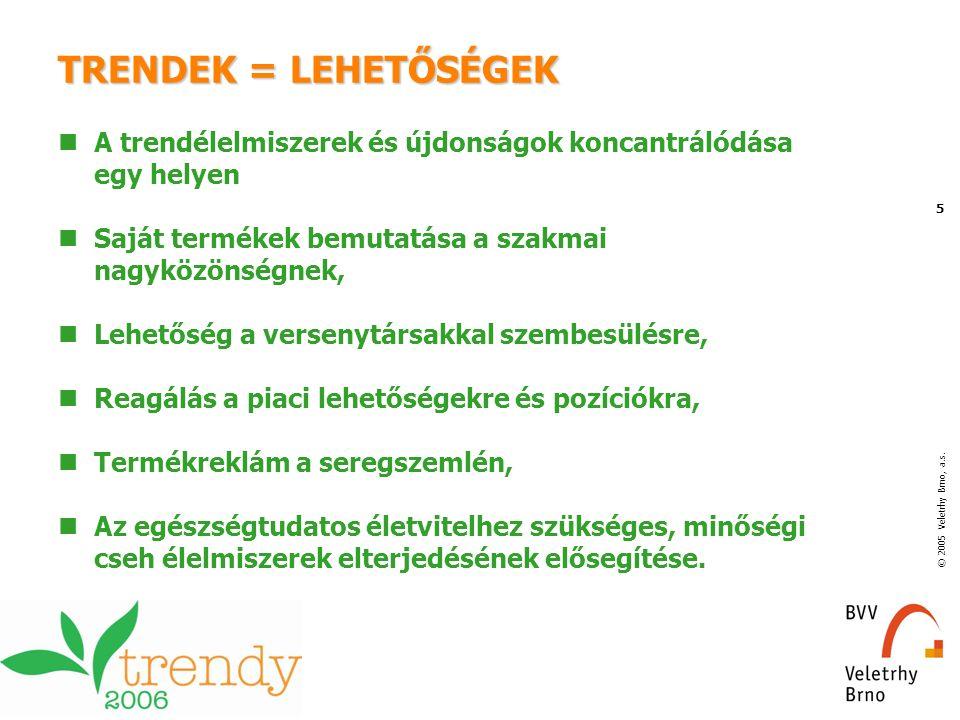 © 2005 Veletrhy Brno, a.s. 5 TRENDEK = LEHETŐSÉGEK A trendélelmiszerek és újdonságok koncantrálódása egy helyen Saját termékek bemutatása a szakmai na