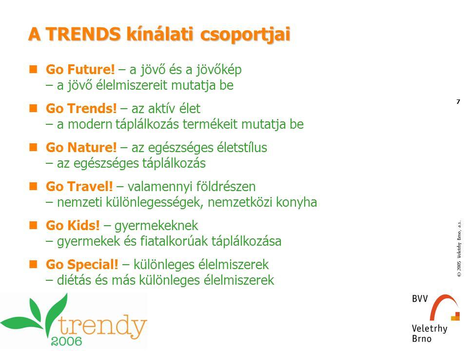 © 2005 Veletrhy Brno, a.s. 7 A TRENDS kínálati csoportjai Go Future! – a jövő és a jövőkép – a jövő élelmiszereit mutatja be Go Trends! – az aktív éle