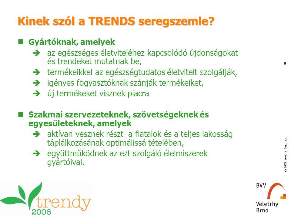 © 2005 Veletrhy Brno, a.s. 8 Kinek szól a TRENDS seregszemle? Gyártóknak, amelyek  az egészséges életviteléhez kapcsolódó újdonságokat és trendeket m