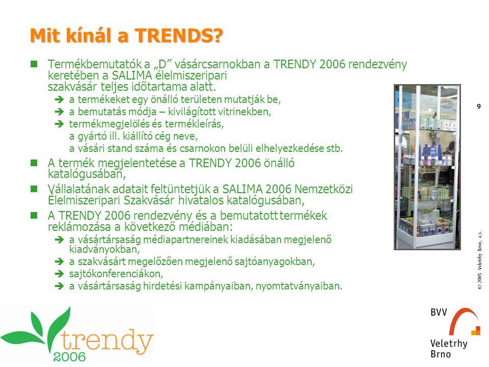 """© 2005 Veletrhy Brno, a.s. 9 Mit kínál a TRENDS? Termékbemutatók a """"D"""" vásárcsarnokban a TRENDY 2006 rendezvény keretében a SALIMA élelmiszeripari sza"""