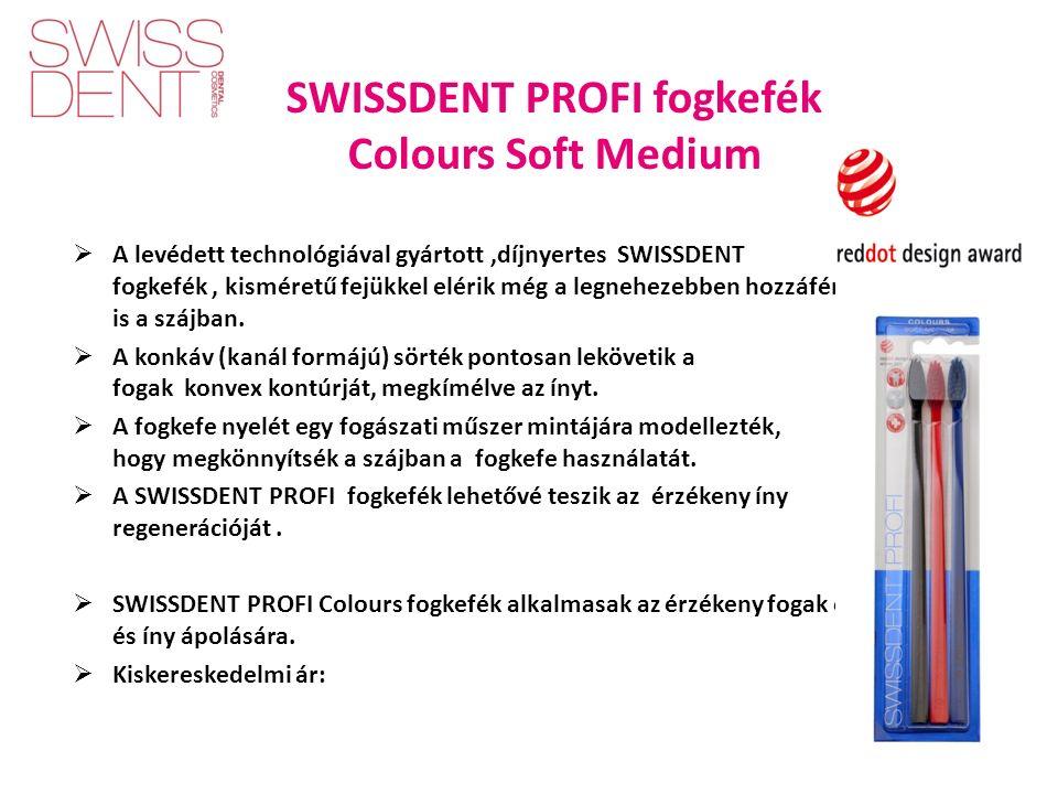 SWISSDENT PROFI fogkefék Colours Soft Medium  A levédett technológiával gyártott,díjnyertes SWISSDENT have a fogkefék, kisméretű fejükkel elérik még a legnehezebben hozzáférhető helyeket is a szájban.