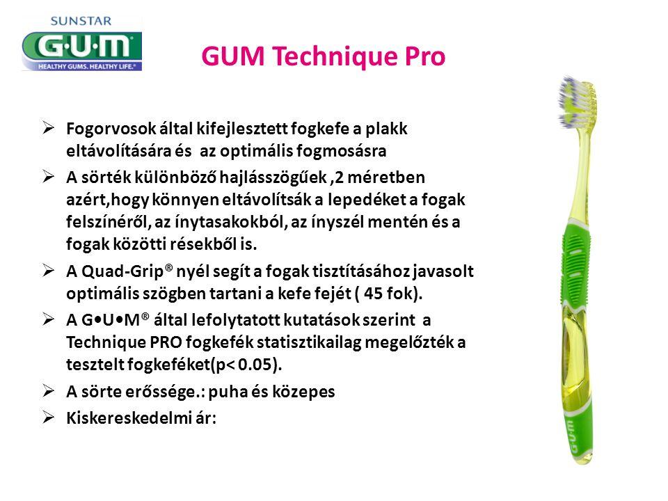 GUM Technique Pro  Fogorvosok által kifejlesztett fogkefe a plakk eltávolítására és az optimális fogmosásra  A sörték különböző hajlásszögűek,2 méretben azért,hogy könnyen eltávolítsák a lepedéket a fogak felszínéről, az ínytasakokból, az ínyszél mentén és a fogak közötti résekből is.