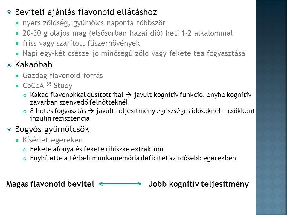  Beviteli ajánlás flavonoid ellátáshoz  nyers zöldség, gyümölcs naponta többször  20-30 g olajos mag (elsősorban hazai dió) heti 1-2 alkalommal  friss vagy szárított fűszernövények  Napi egy-két csésze jó minőségű zöld vagy fekete tea fogyasztása  Kakaóbab  Gazdag flavonoid forrás  CoCoA 55 Study Kakaó flavonokkal dúsított ital  javult kognitív funkció, enyhe kognitív zavarban szenvedő felnőtteknél 8 hetes fogyasztás  javult teljesítmény egészséges időseknél + csökkent inzulin rezisztencia  Bogyós gyümölcsök  Kísérlet egereken Fekete áfonya és fekete ribiszke extraktum Enyhítette a térbeli munkamemória deficitet az idősebb egerekben Magas flavonoid bevitel Jobb kognitív teljesítmény