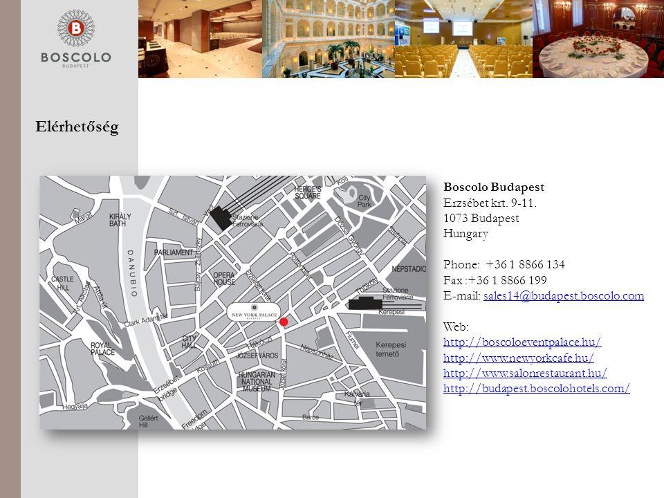 Elérhetőség Boscolo Budapest Erzsébet krt.9-11.