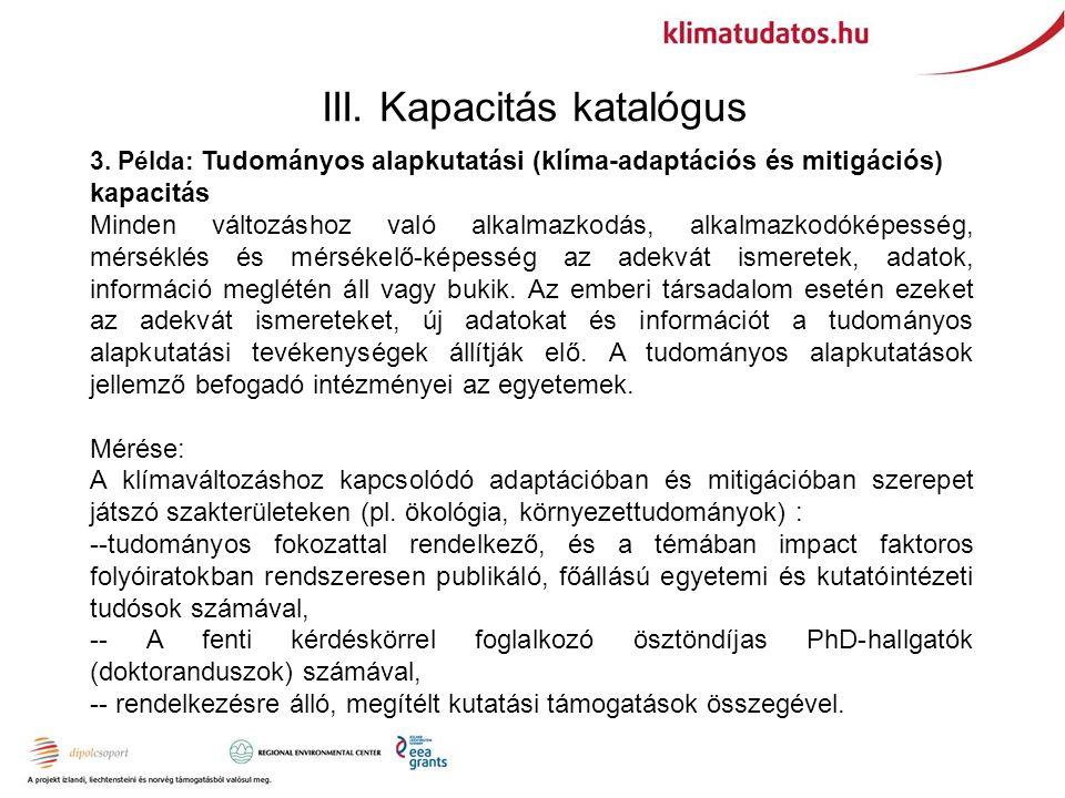 III. Kapacitás katalógus 3.