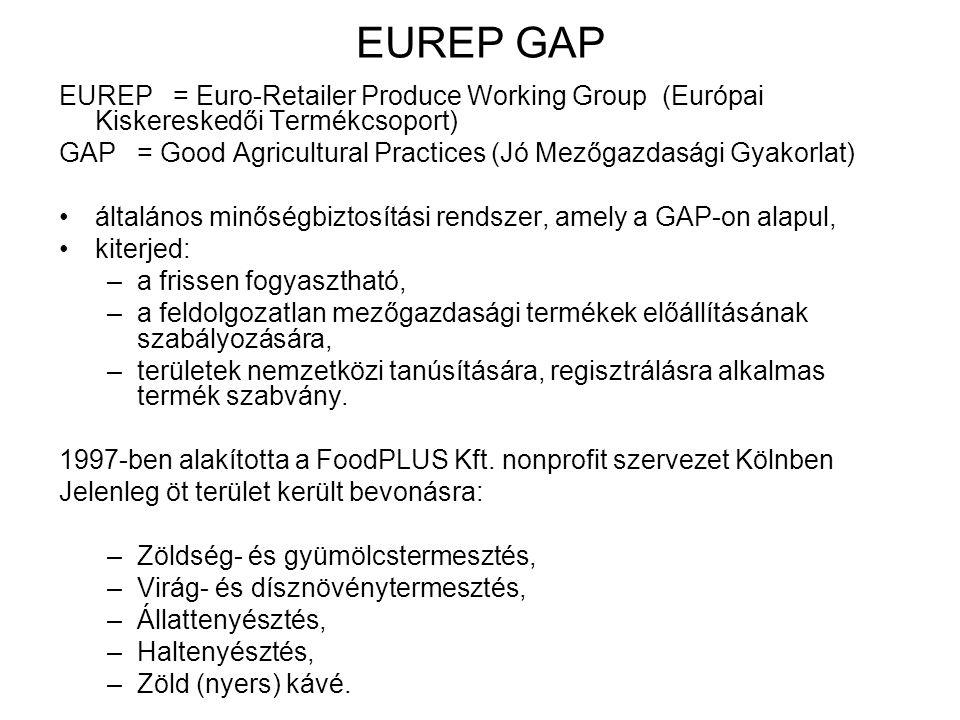 EUREP GAP EUREP = Euro-Retailer Produce Working Group (Európai Kiskereskedői Termékcsoport) GAP = Good Agricultural Practices (Jó Mezőgazdasági Gyakorlat) általános minőségbiztosítási rendszer, amely a GAP-on alapul, kiterjed: –a frissen fogyasztható, –a feldolgozatlan mezőgazdasági termékek előállításának szabályozására, –területek nemzetközi tanúsítására, regisztrálásra alkalmas termék szabvány.