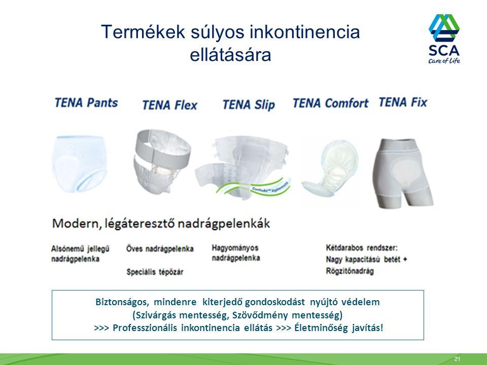 Termékek súlyos inkontinencia ellátására Biztonságos, mindenre kiterjedő gondoskodást nyújtó védelem (Szivárgás mentesség, Szövődmény mentesség) >>> P