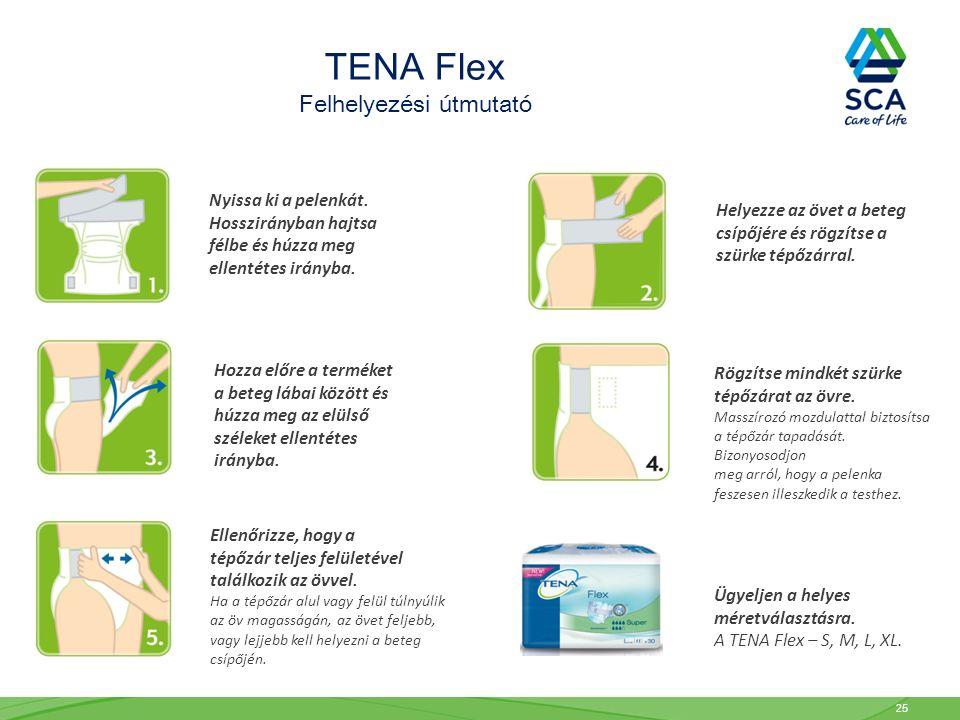 TENA Flex Felhelyezési útmutató Nyissa ki a pelenkát. Hosszirányban hajtsa félbe és húzza meg ellentétes irányba. Helyezze az övet a beteg csípőjére é