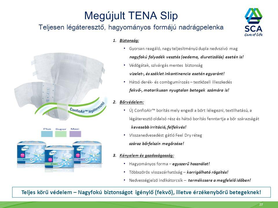 Megújult TENA Slip Teljesen légáteresztő, hagyományos formájú nadrágpelenka 1. Biztonság: Gyorsan reagáló, nagy teljesítményű dupla nedvszívó mag nagy