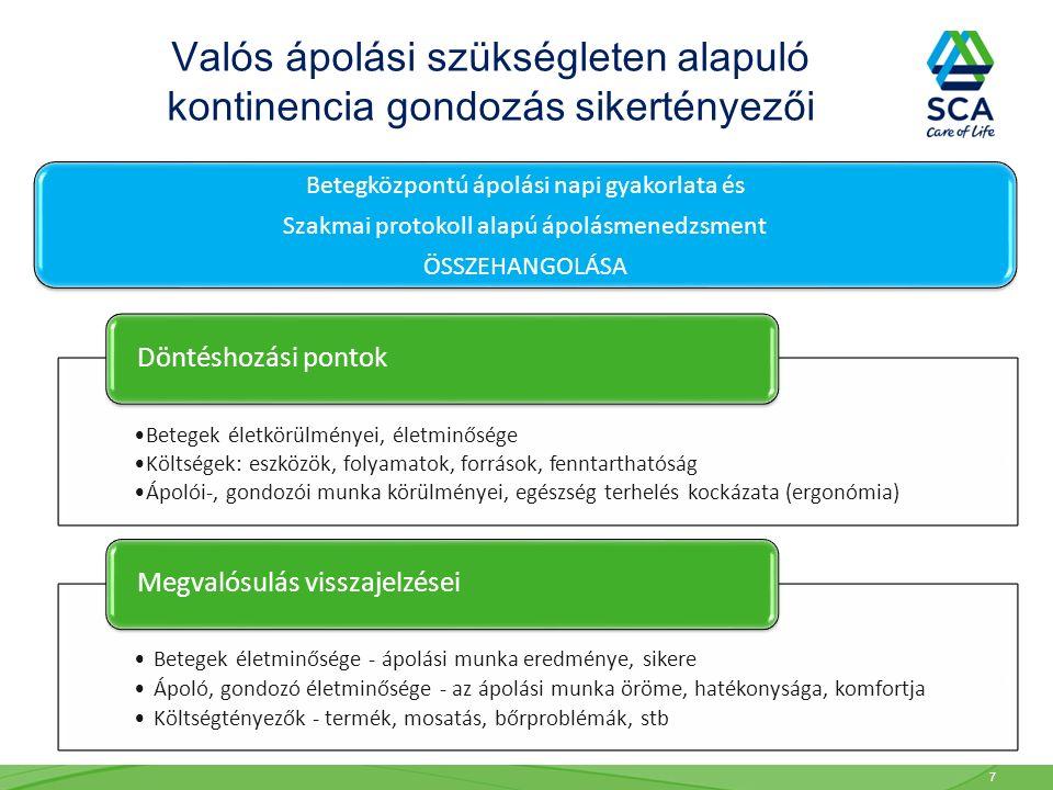 Betegek életkörülményei, életminősége Költségek: eszközök, folyamatok, források, fenntarthatóság Ápolói-, gondozói munka körülményei, egészség terhelés kockázata (ergonómia) Döntéshozási pontok Betegek életminősége - ápolási munka eredménye, sikere Ápoló, gondozó életminősége - az ápolási munka öröme, hatékonysága, komfortja Költségtényezők - termék, mosatás, bőrproblémák, stb Megvalósulás visszajelzései Betegközpontú ápolási napi gyakorlata és Szakmai protokoll alapú ápolásmenedzsment ÖSSZEHANGOLÁSA Valós ápolási szükségleten alapuló kontinencia gondozás sikertényezői 7