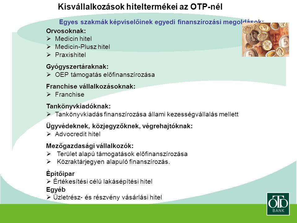Kisvállalkozások hiteltermékei az OTP-nél Egyes szakmák képviselőinek egyedi finanszírozási megoldások: Orvosoknak:  Medicin hitel  Medicin-Plusz hitel  Praxishitel Gyógyszertáraknak:  OEP támogatás előfinanszírozása Franchise vállalkozásoknak:  Franchise Tankönyvkiadóknak:  Tankönyvkiadás finanszírozása állami kezességvállalás mellett Ügyvédeknek, közjegyzőknek, végrehajtóknak:  Advocredit hitel Mezőgazdasági vállalkozók:  Terület alapú támogatások előfinanszírozása  Közraktárjegyen alapuló finanszírozás.