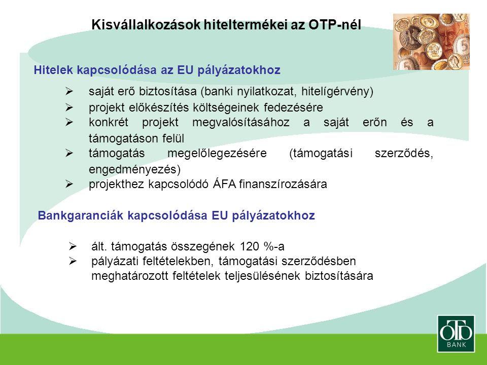 Kisvállalkozások hiteltermékei az OTP-nél Hitelek kapcsolódása az EU pályázatokhoz  saját erő biztosítása (banki nyilatkozat, hitelígérvény)  projekt előkészítés költségeinek fedezésére  konkrét projekt megvalósításához a saját erőn és a támogatáson felül  támogatás megelőlegezésére (támogatási szerződés, engedményezés)  projekthez kapcsolódó ÁFA finanszírozására Bankgaranciák kapcsolódása EU pályázatokhoz  ált.