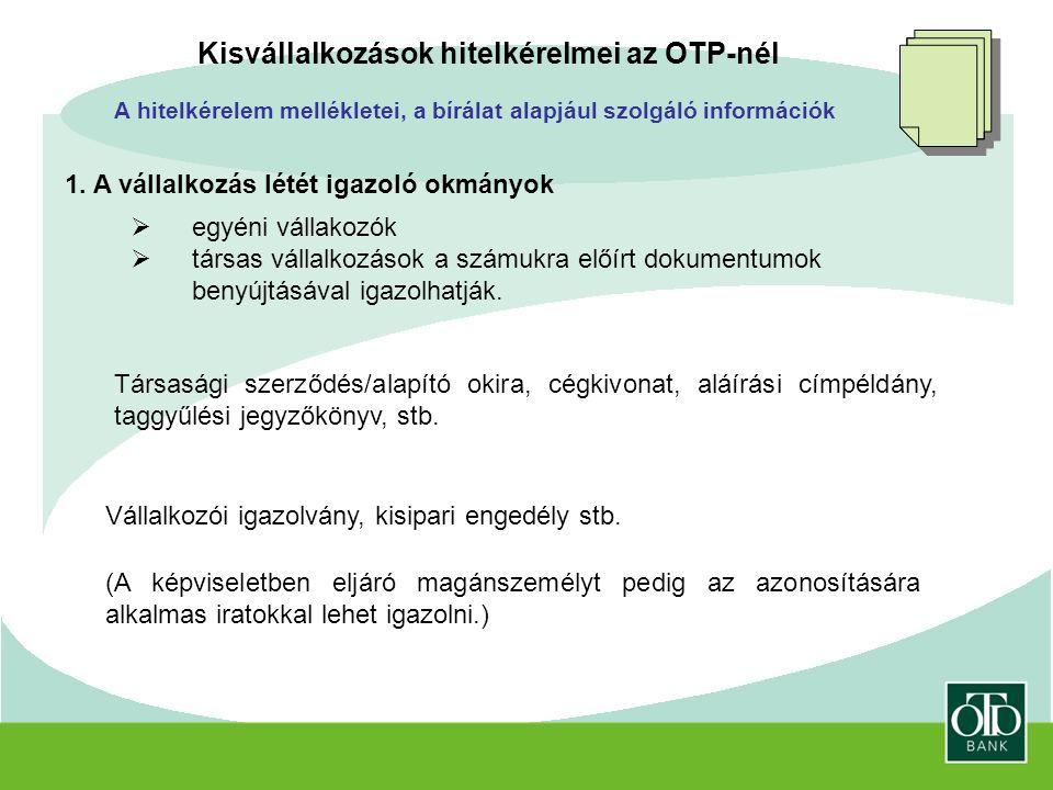 Kisvállalkozások hitelkérelmei az OTP-nél A hitelkérelem mellékletei, a bírálat alapjául szolgáló információk 1.