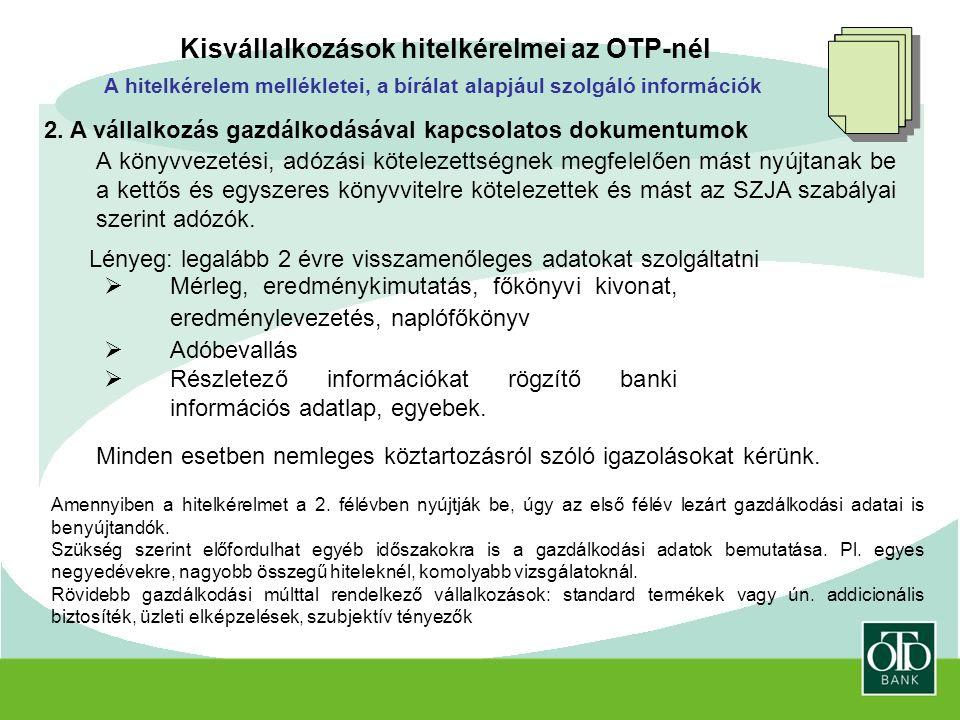Kisvállalkozások hitelkérelmei az OTP-nél 2.
