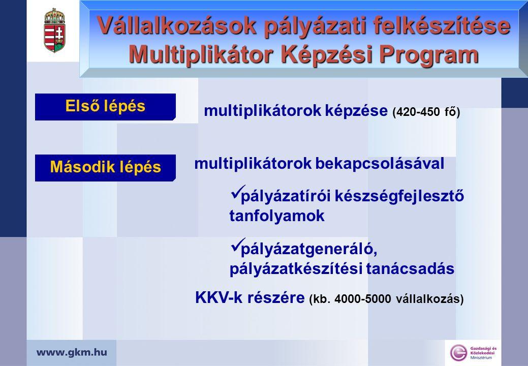 Vállalkozások pályázati felkészítése Multiplikátor Képzési Program multiplikátorok képzése (420-450 fő) KKV-k részére (kb. 4000-5000 vállalkozás) mult